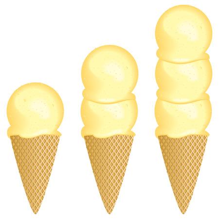 1 つ、2 つまたは 3 つのスクープ アイス クリーム コーンの選択アイコン。  イラスト・ベクター素材