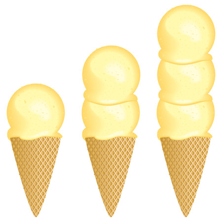 ice cream cone: One, two or three scoop ice cream cone selection icon.  Illustration