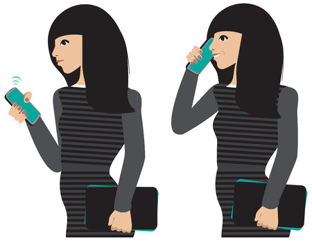 answering phone: A dark haired girl taking a cell phone call.  Illustration