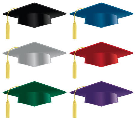 A selection of graduation hats in a variety of colors.