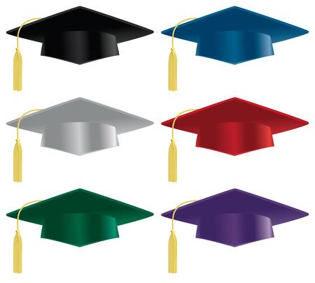 gorra: Una selección de sombreros de graduación en una variedad de colores.