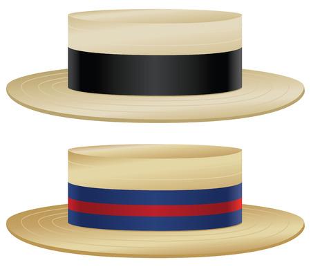 わらとリボンの色のバリエーションを持つ伝統的なボートに乗る人の帽子。