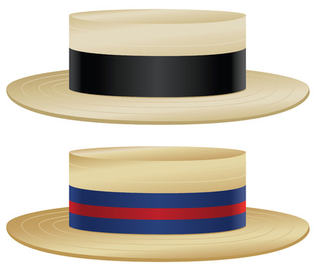 Traditional boater hats with variations in straw and ribbon color.  Illustration