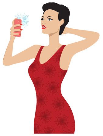 Una signora in un abito rosso di prendere una selfie. Archivio Fotografico - 29347874
