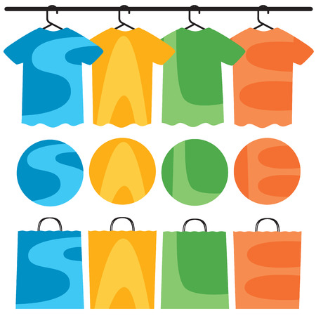 Sale text on shirts, circles and shopping bags.