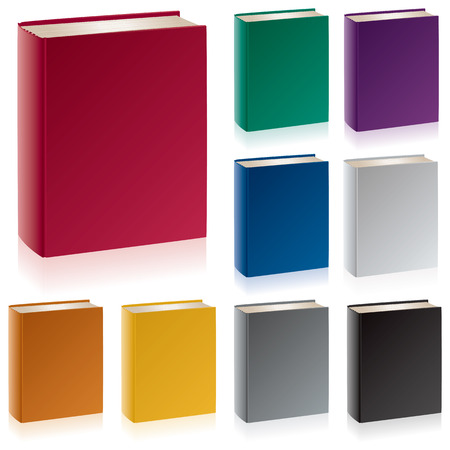 A group of hardcover books in traditional colors with the spine, cover, endband, and top edge visible. Vettoriali