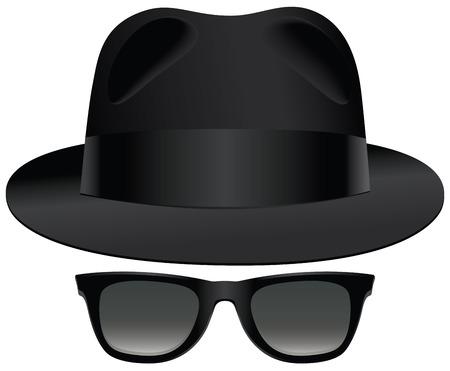黒いソフト帽、サングラスの古典的なセット。