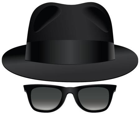 A classic set of black fedora and sunglasses. Illustration