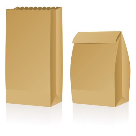 brown paper bag: Two brown paper bags – one open the other closed.  Illustration