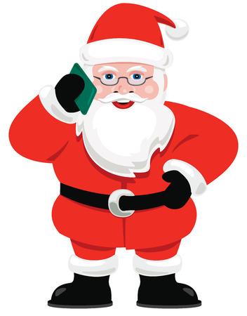 Santa Claus taking a cell phone call. Vettoriali