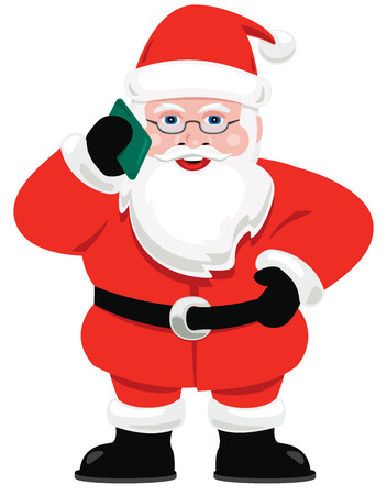 answering phone: Santa Claus taking a cell phone call. Illustration