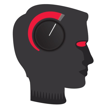 Dial turned to maximum on male profile.