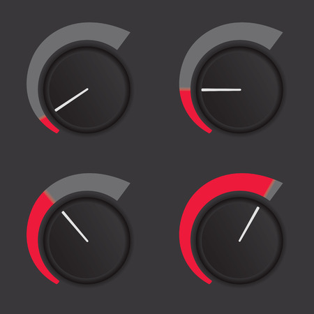 A set of dials at low to high levels. Vector