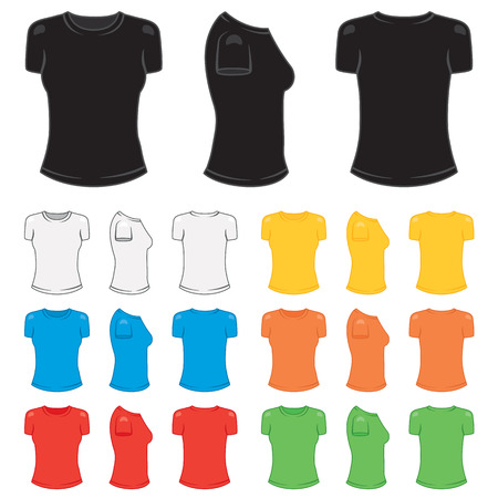 Graphic female t-shirt in a variety of basic colors.