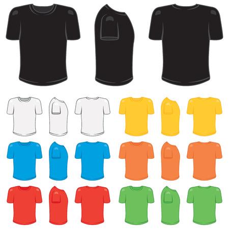 さまざまな基本的な色でグラフィックの男性 t シャツ。  イラスト・ベクター素材