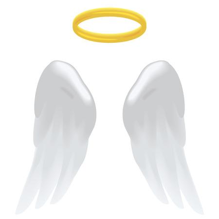 천사의 날개와 흰색에 고립 된 후광. 일러스트