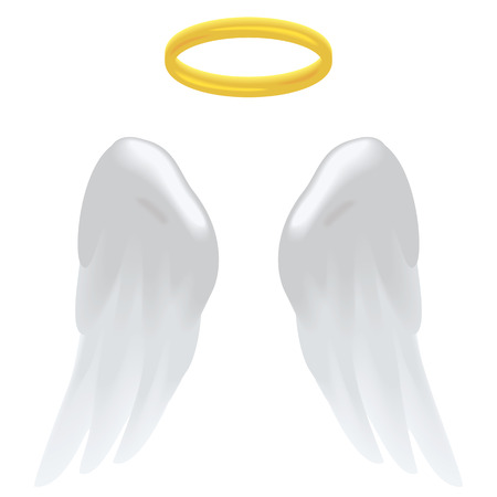 christmas spirit: Angel wings and a halo isolated on white.