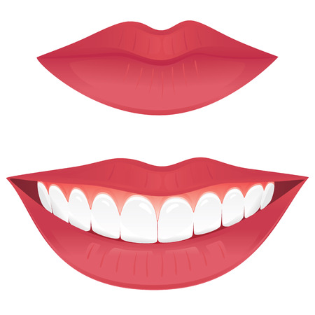 Closed lips and a smiling mouth with healthy teeth isolated on white.