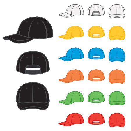 red hat: Graphic baseball cap in a variety of basic colours