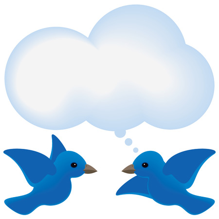 Blue birds meet with a thought bubble cloud.