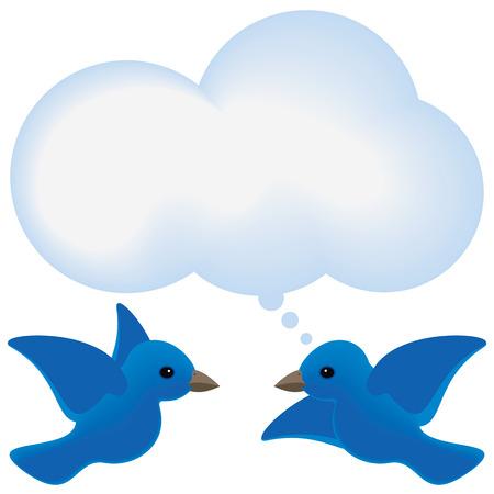 Uccelli blu si incontrano con una nube di bolla di pensiero. Archivio Fotografico - 36763444