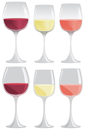 Glasses of red, white and pink wine in gradient or flat colors. Vettoriali