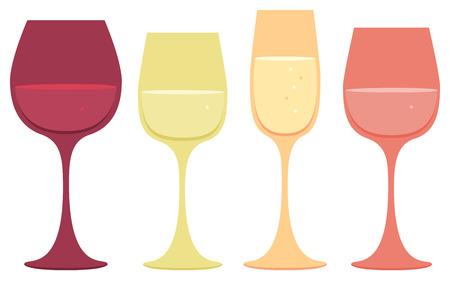 赤、白、ピンク、スパーク リング ワインのガラスのアイコンのセットです。