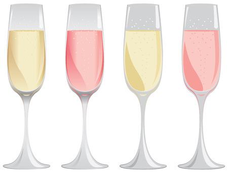 Bicchieri di vino spumante bianco e rosa in colori sfumati o piatte.