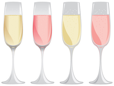 Glasses of white and pink sparkling wine in gradient or flat colors.