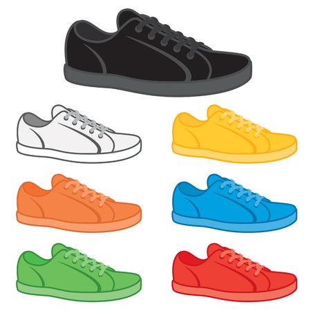 Casual Sneaker in einer Vielzahl von Grundfarben. Vektorgrafik