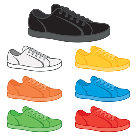 Casual sneakers in a variety of basic colours. Vektorové ilustrace