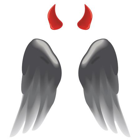Devil horns and dark wings isolated on white. Vettoriali