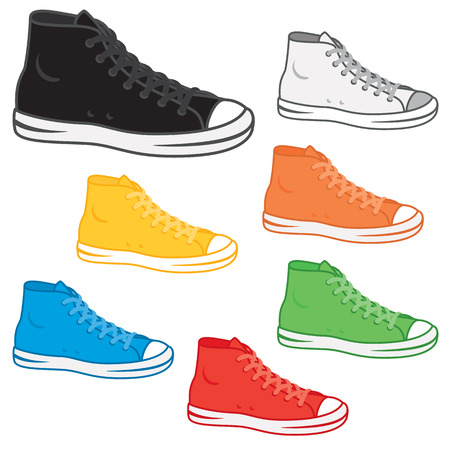 variety: Generic high top sneakers in a variety of basic colours.