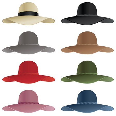 A selection of floppy hats in various colors.