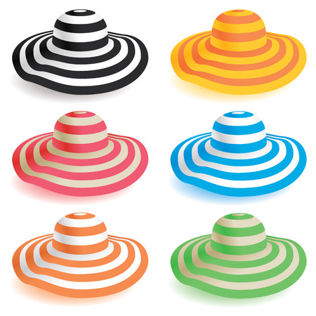 red straw: A selection of floppy beach hats in various colors. Illustration