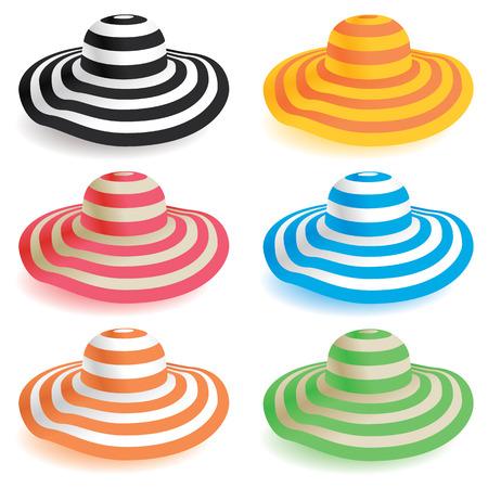 kapelusze: Wybór dyskietek kapelusze plażowe w różnych kolorach. Ilustracja