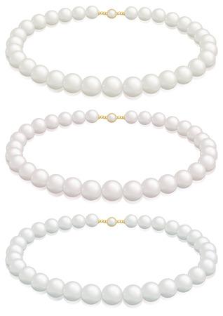 クリーム、ばらまたは銀色の含みを持つ白い真珠のネックレスの選択。