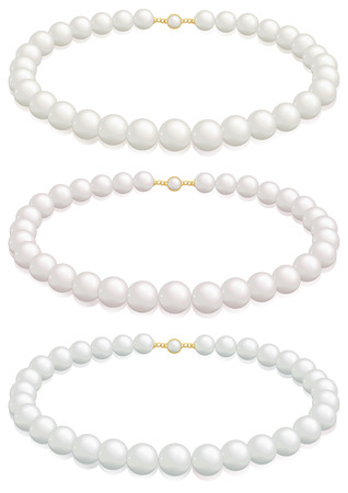 A white pearl necklace selection with cream, rose or silver overtones. Illustration