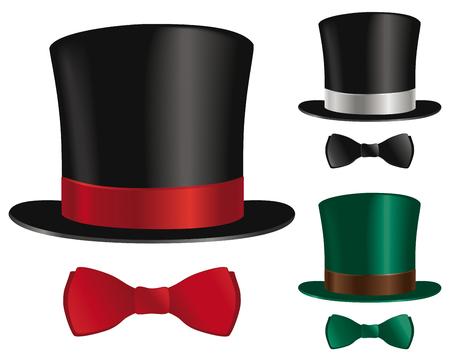 Un sombrero de copa y la selección corbata de lazo.
