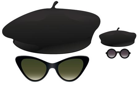 Zwarte baretten met cat eye en rond zonnebril.