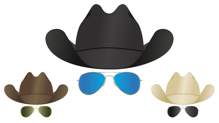 A selection of country and western cowboy hats and aviator sunglasses.