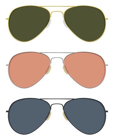 基本的な固体の色でクラシックなサングラス。  イラスト・ベクター素材