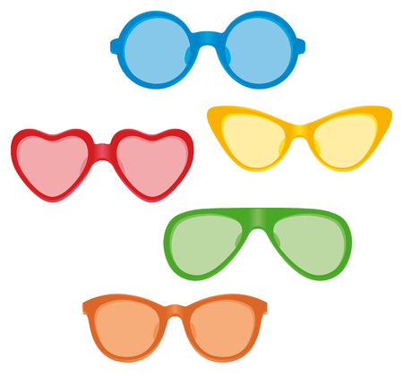 A selection of sunglasses with tinted lenses in various frame shapes.