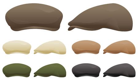 各種様々 な色でフラット キャップです。  イラスト・ベクター素材