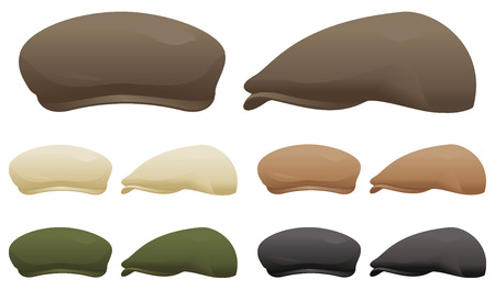 newsboy cap: A selection of flat caps in various colors.