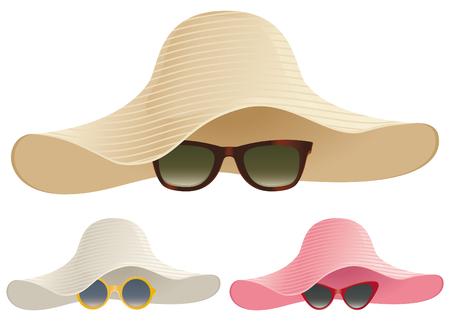 Una selezione di cappelli e occhiali da sole floppy. Archivio Fotografico - 79972566