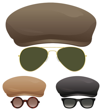 A group of flat caps and various sunglasses.
