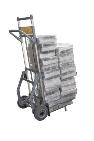 sacktruck: A delivery cart with a package.  Delivery of newspapers packages