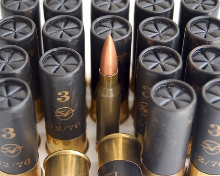 ak 74: set of colored game cartridges for hanting and different bullet for AK 74, concept of uniqueness for business (team work, leader)