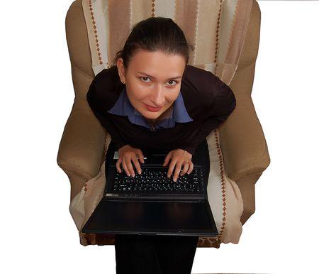 portrait of beautiful brunette women working on laptop (notebook) Stock Photo - 2994562